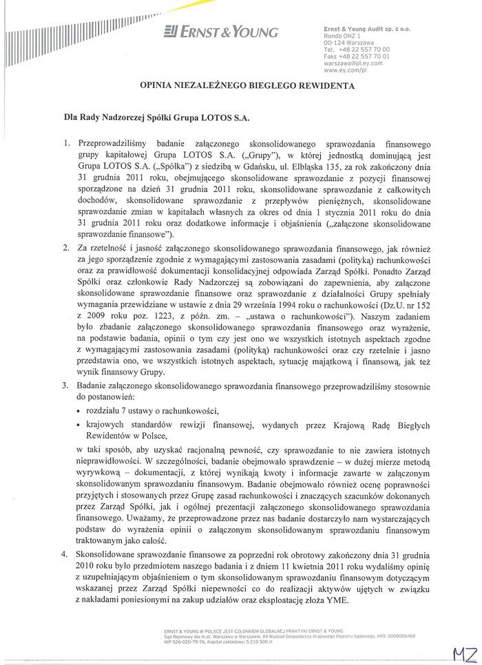 Opinia dla Grupy Kapitałowej LOTOS S.A. strona 1