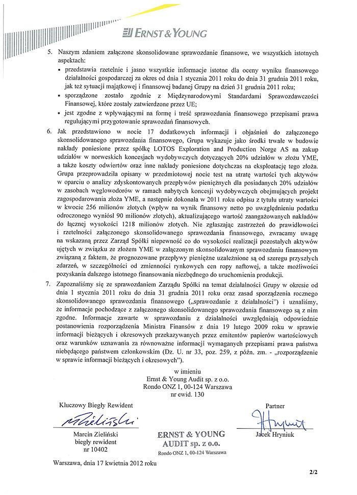 Opinia dla Grupy Kapitałowej LOTOS S.A. strona 2
