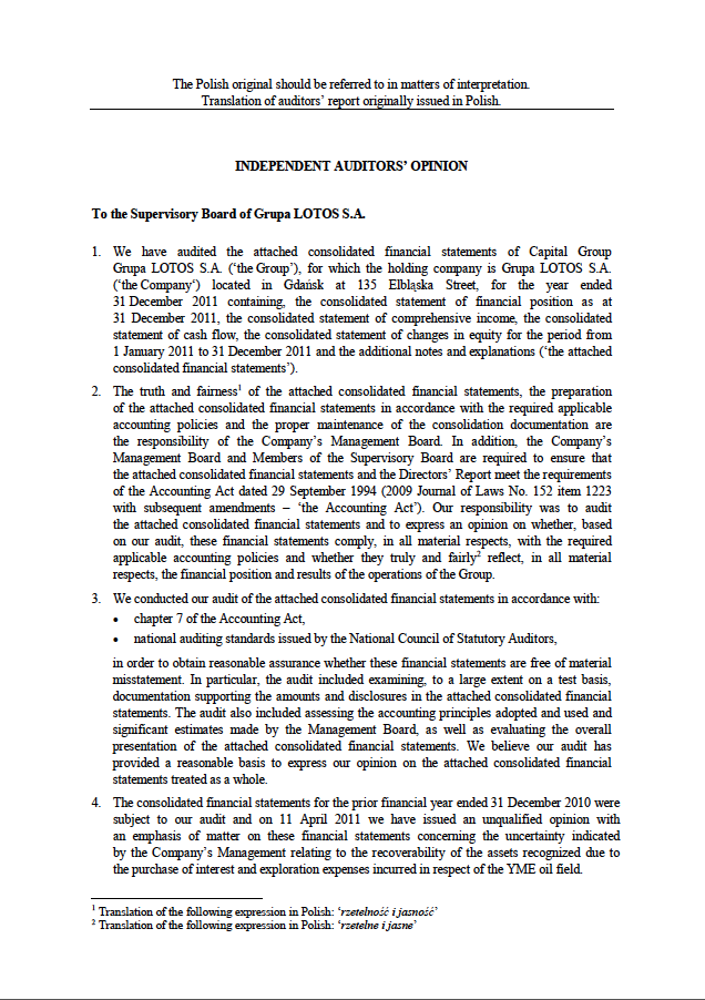 Independent auditors' opinion the LOTOS Group 2011, page 1
