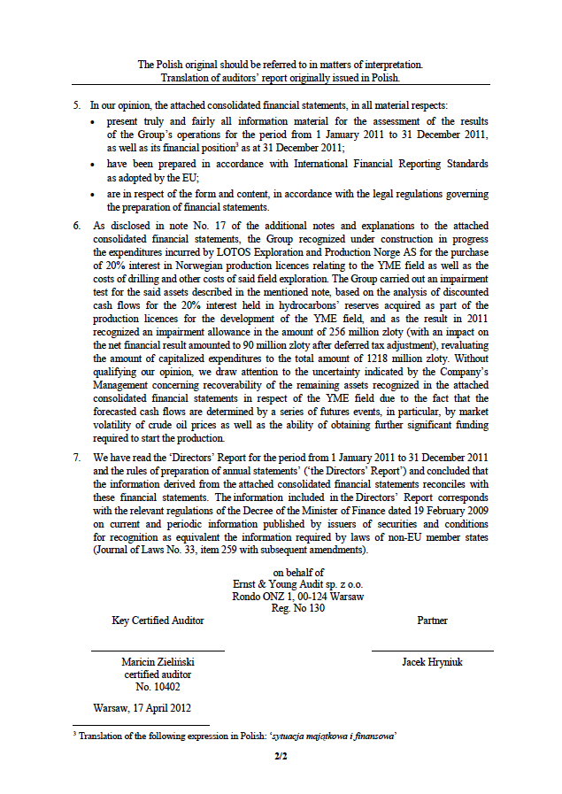 Independent auditors' opinion the LOTOS Group 2011, page 2